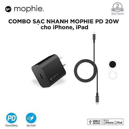 Combo sạc nhanh Mophie Power Delivery 20W USB-C - Cáp Mophie C to lightning 1M - Hàng chính hãng