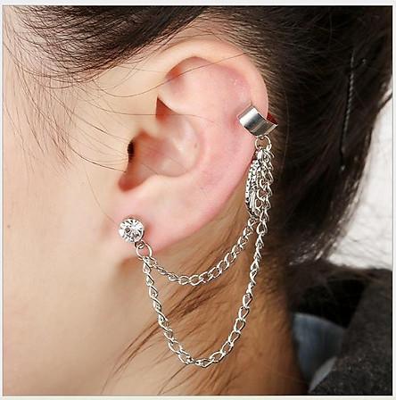 Khuyên kẹp vành tai 2 dây với charm cánh chim khuyên tai unisex nữ