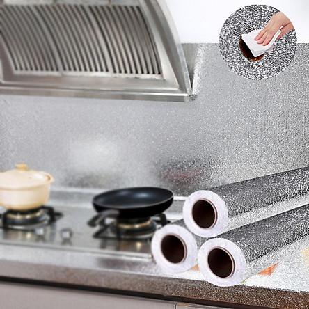 Combo 3 Cuộn Giấy bạc dán tường nhà bếp chống thấm dầu, thấm nước tiện dụng 2mx40cm ( tặng kèm móc dán tường nhà bếp PKS)