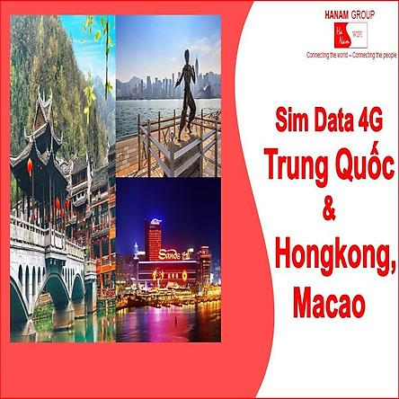 Sim Data 4G Trung Quốc-Hồng Công-Macao Không Giới Hạn Dung Lượng