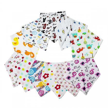 Combo 10 khăn yếm tam giác cho bé - Màu ngẫu nhiên