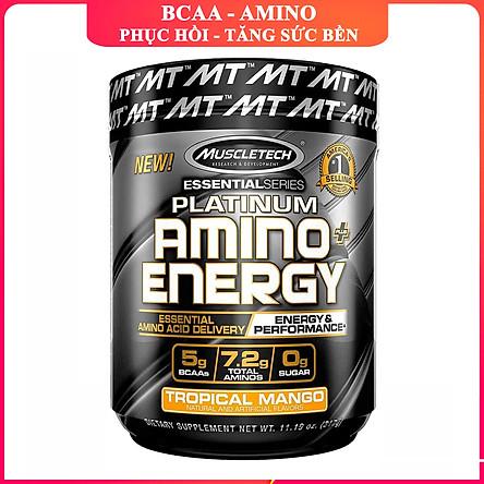 BCAA Platinum Amino Plus Energy của Muscle Tech hương Tropical Mango (XOÀI) hộp 30 lần dùng hỗ trợ tăng sức bền, sức mạnh, đốt mỡ giảm cân mạnh mẽ, phục hồi cơ nhanh chóng cho người tập GYM và chơi thể thao thao