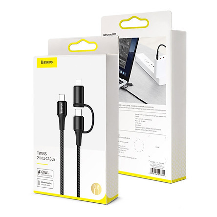 Cáp sạc nhanh Baseus Twins 2 in 1 dùng cho Android/ iPhone/ iPad/ Macbook (Type C to Type-C/ Lightning, 60W PD/ QC3.0 Quick Charge & Sync Data Cable) - Hàng nhập khẩu