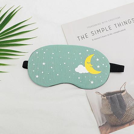 Bịt mắt ngủ có gel làm mát  hình trăng sao tặng kèm bịt tai chống ồn