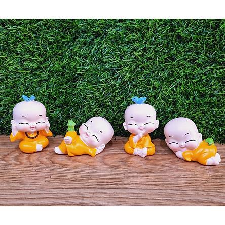 Bộ 04 tượng chú tiểu nhí áo vàng / áo lam đáng yêu - tặng kèm 50 xu vàng mini may mắn