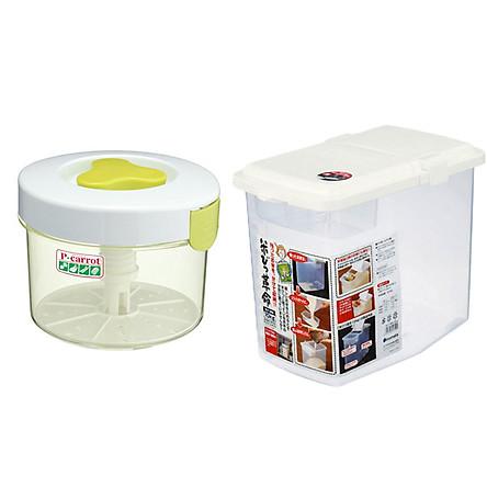 Combo Hộp muối dưa cà 2,2l + Thùng gạo 10kg nắp bật có bánh xe & ca đong - Tặng găng tay đa năng nội địa Nhật Bản