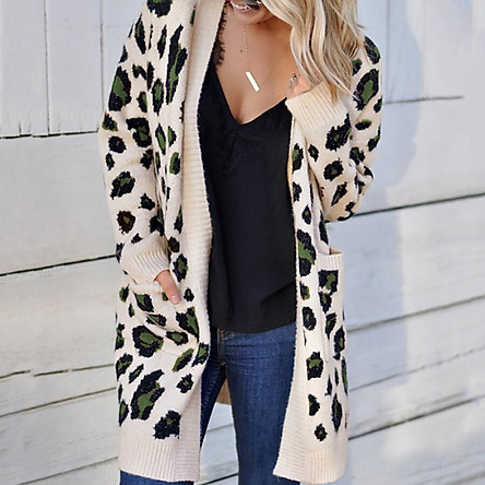 Knit Cardigan Female Leopard Print Fashion Sexy European And American Style Overall Design Elegant Temperament Loose Long Sleeve