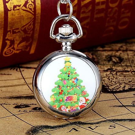 Santa Claus Pocket Watch Quartz Jewelry Pendant Christmas Gift Decoration Silver