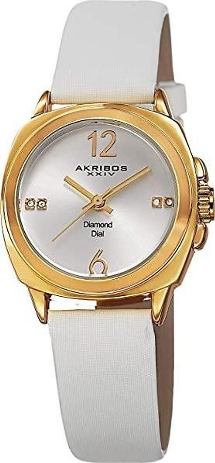 Akribos XXIV Women's AK742 Swiss Quartz Movement Watch with Rose Gold Sunburst Effect Dial Satin Over Nubuck Leather Strap