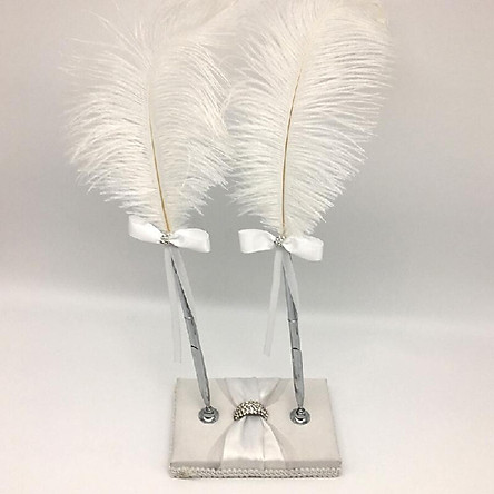 Wedding Signing Pen Feather Pen with Double Holders Wedding Signature Pen Set Decoration Supplies for Guest Book
