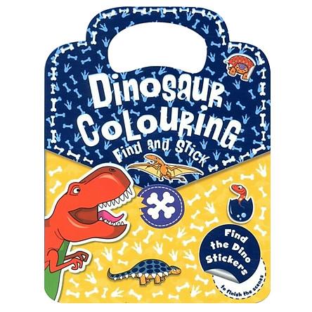 Sách tô màu Dinosaur Colouring Find and Stick