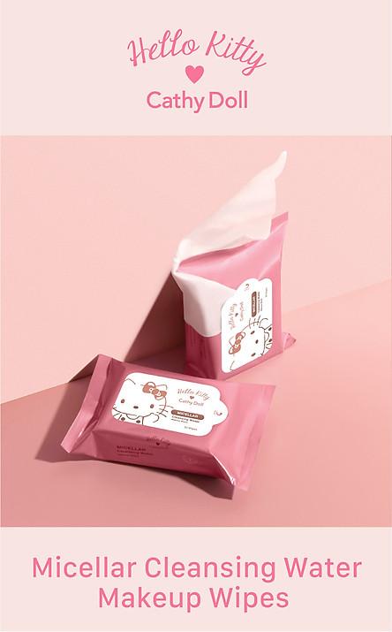 Combo 2 Gói Khăn giấy tẩy trang Hello Kitty Cathy Doll Micellar Cleansing Water Makeup Wipes (30 miếng x 2 gói)
