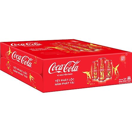 Thùng 24 Lon Mi-nhon Nước Giải Khát Coca-Cola vị Nguyên Bản Original 235mlx24