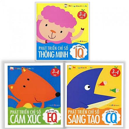 Combo 3 cuốn sách Phát Triển Chỉ Số Thông Minh IQ EQ CQ 3-4 Tuổi (Bộ sách phát triển trí tuệ) (Tặng kèm Bookmark Happy Life)