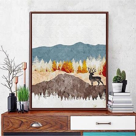Tranh sơn dầu số hóa - tranh tô màu theo số- tranh phong cảnh đẹp, Tặng khăn,có khung 40x50cm
