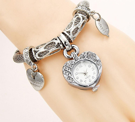 Heart Shape Female Bracelet Watch Quartz Watches Wristwatch Gift Gold/Silver