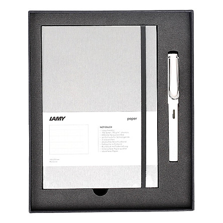 Gift Set Lamy Notebook A5 Softcover Grey+ Lamy Safari White - GSNSa0013