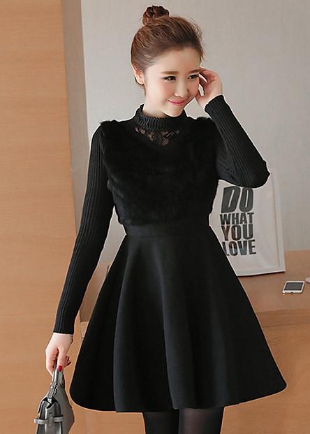 Đầm dạ phối lông đẹp kiểu đầm xòe dạ dự tiệc phối cổ cao tay len màu đen D1206