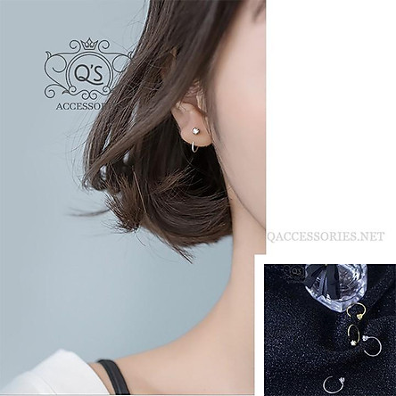 Khuyên tai bạc móc chữ C bông tai kẹp vành nụ đá EARCUFF Silver Earrings S925 SO00 - KÈM ẢNH THẬT