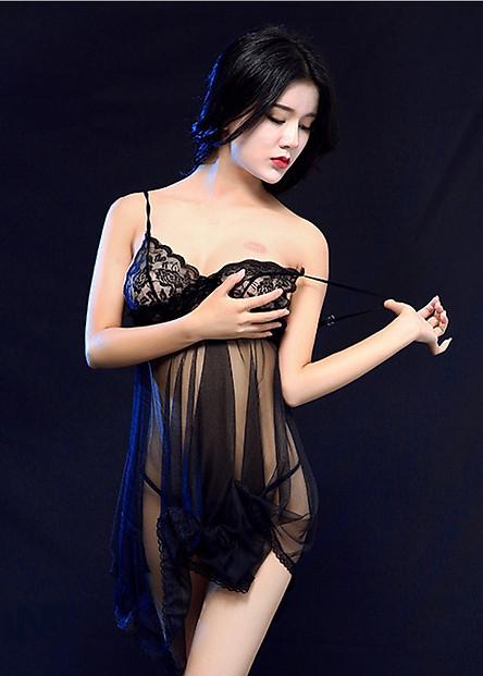 Váy ngủ lưới phối ren sexy, kèm quần lót lọt khe VN04, Freesize