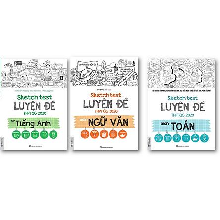 bộ 3 cuốn sách SKETCH TEST LUYỆN ĐỀ THPTQG 2020 MÔN  + VĂN +  ANH + môn toán KT