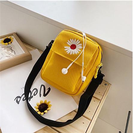 Túi Vải Canvas Mini Đựng Điện Thoại Hình Bông Cúc Dịu Dàng TX38