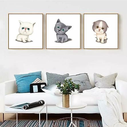 Tranh dán tường bộ 3 chú mèo đáng yêu Tipo_0140