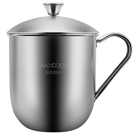 Cốc Inox 304 480ml Có Nắp Và Tay Cầm Thích Hợp Cho Văn Phòng Học Sinh Beauty Cook (Maxcook)
