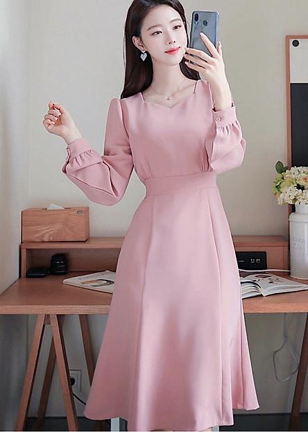 Đầm hồng form dài thắt eo