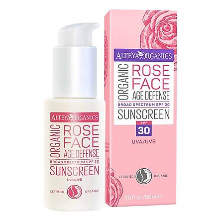 Kem Chống Nắng Hoa Hồng Hữu Cơ Cho Da Mặt - Alteya Organic Sunscreen Rose Face Cream SPF 30 (50ml)
