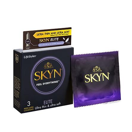 Bao cao su LifeStyles SKYN Elite Non-latex cao cấp siêu mỏng siêu mềm cảm giác chân thật không gây dị ứng không mùi cao su size 53mm - Hộp 3 bao - Xuất xứ Úc ( Hàng Chính Hãng )