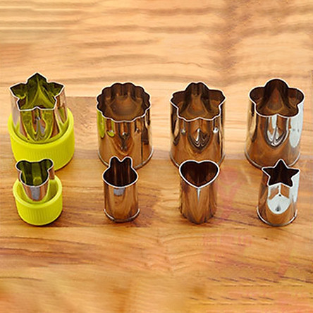 Stainless Steel Fruit Vegetable Cookie Cutters Mini Stamps Mold Shapes Set Cute Flower Cartoon Animals for Salad Biscuit