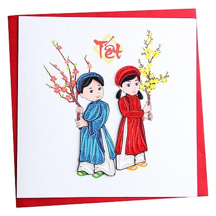 Thiệp Giấy Xoắn Năm Mới Việt Net VN1NY115045C1 (15 x 15 cm)