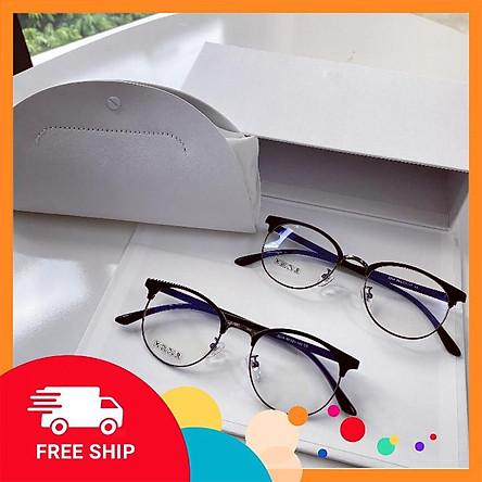Gọng kính giả cận 6214 - Kính kim loại kết hợp nhựa dẻo cho cả nam và nữ - Tiệm kính Candy
