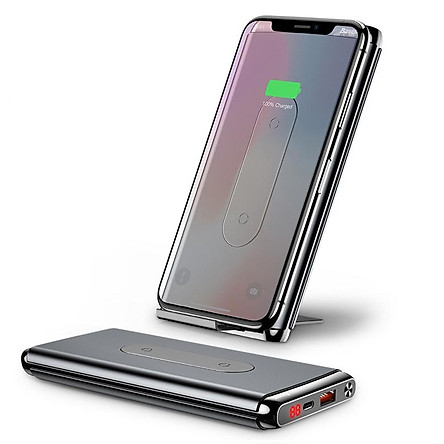 Pin sạc dự phòng không dây Baseus Dual Coil Wireless 10,000mAh, BS-10KP - cho iPhoneX/ XS Max/ Samsung S9/ N9/ Xiaomi/ Huawei (LCD, Type C/PD + QC3.0 , Wireless charge Power bank) - Hàng chính Hãng