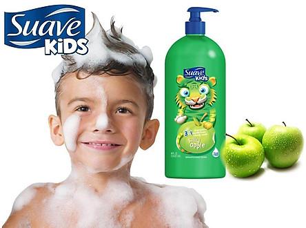 Sữa tắm gội xả mùi Táo Suave Kids 3 in 1 Apple 532ML của Mỹ cho bé yêu
