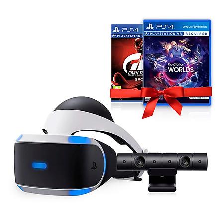 Combo Kính Thực Tế Ảo Playstation VR Sony (V2) Kèm 2 đĩa game Gran Turismo và Playstation Vr Worlds - Hàng Chính Hãng