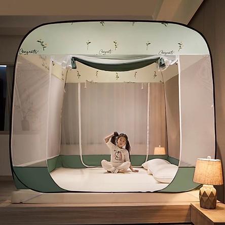 Màn ngủ tự bung đỉnh vuông gấp gọn, Mùng Chụp, Màn Chụp Tự Bung, Màn ngủ chống muỗi 1m8 x 2m, Dễ dàng tiện lợi, bền đẹp (Giao  hoa văn  ngẫu nhiên)