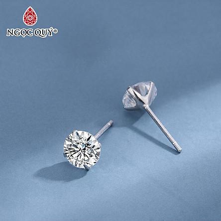 Bông tai nụ đít đẩy bạc S925 - Bông tai nụ bạc - Ngọc Quý Gemstones