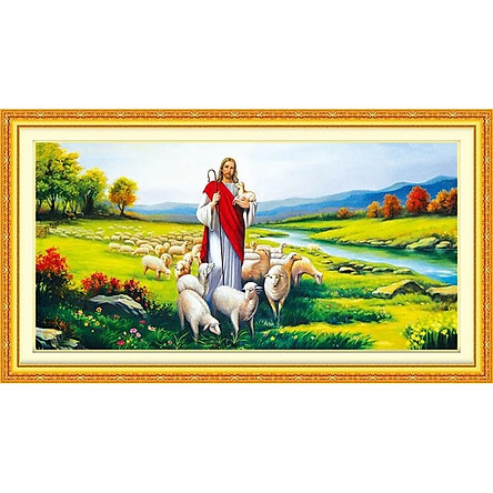 tranh đính đá Chúa chăn cừu - chưa đính