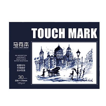 Sổ vẽ, viết Touch Mark chuyên dụng dành cho mỹ thuật  dùng để vẽ màu nước, chì, màu bộ kích thước a5, 100% bột giấy ECF