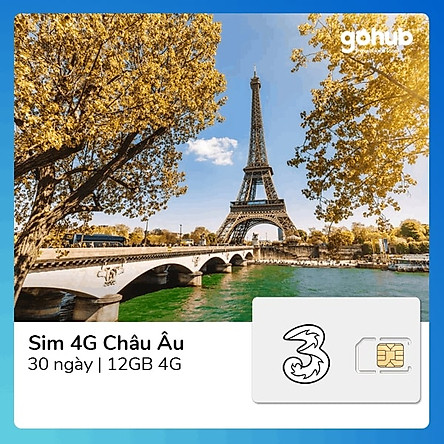 Gohub - Sim 4G Châu Âu + Thế giới 12GB (Gọi + DATA)