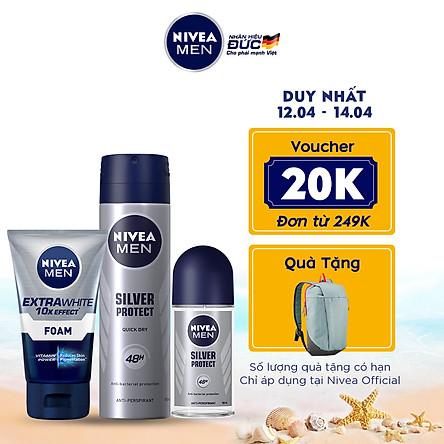 Bộ 3 sản phẩm Xịt và Lăn Ngăn Mùi NIVEA MEN Silver Protect Phân Tử Bạc Giảm 99.9% Vi Khuẩn Gây Mùi (150ml - 82959 & 50ml - 83778) & Sữa Rửa Mặt NIVEA MEN Làm Sáng Da (100G) - 88836