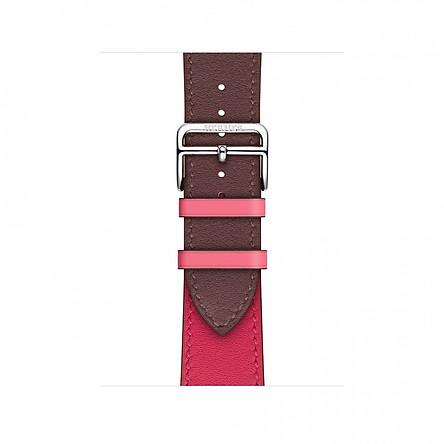 Dây đeo thanh thế cho apple Watch da 2 màu cao cấp _ Hồng tím _ 44mm