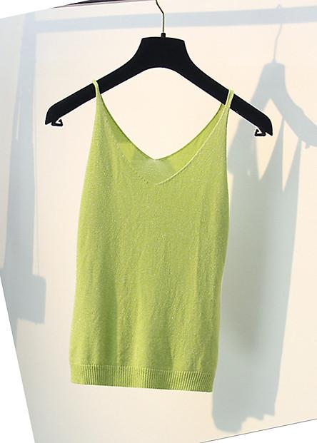 Áo 2 dây cổ V thon chất len lụa dệt kim tuyến mùa hè thoải mái HD01 Free size