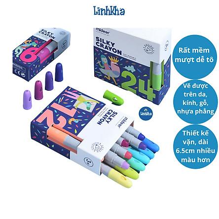 Bút  Màu Sáp Lụa Mideer - Vẽ Được Trên Nhiều Vật Liệu - Dễ Dàng Lau Sạch - Mideer Silky Crayon