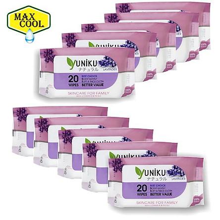 Combo 10 Gói Khăn Ướt Yuniku 20 Tờ Hương Lavender  ( 20 Tờ x 10 )