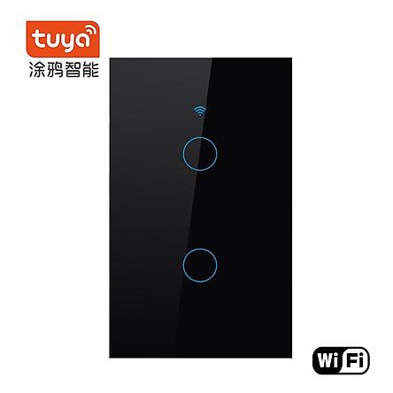 Công tắc cảm ứng wifi thông minh 2 gang Smart life màu đen- Hàng nhập khẩu