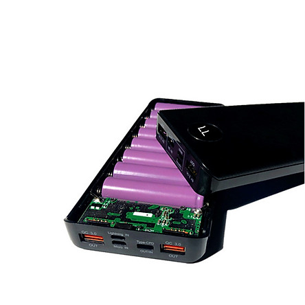 Box sac dự phòng 8 cell sạc nhanh QC3.0 + PD đủ chân cắm lightning/typeC/micro usb dùng pin 18650 (chưa pin)