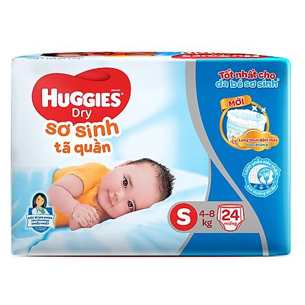 Tã Quần Sơ Sinh Huggies Dry Newborn S24 (24 Miếng) - Bao Bì Mới